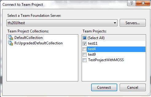 Scegliere i team project da visualizzare
