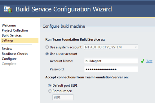 Configurare il Build Service