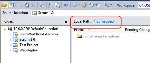 Visualizzazione del source control in assenza di mapping