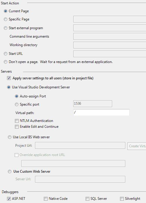 Le opzioni Web per un progetto ASP.NET