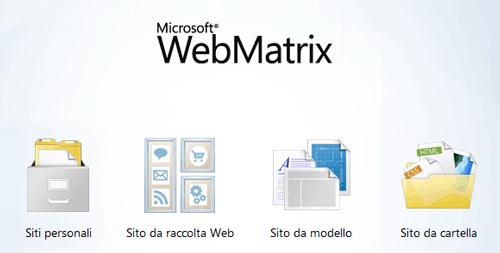 Schermata di avvio di WebMatrix