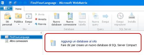 Aggiungere un database su WebMatrix