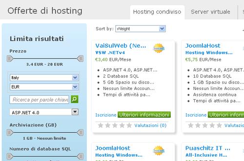 Gli hosting disponibili