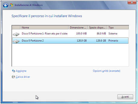 Windows 7 - Installazione