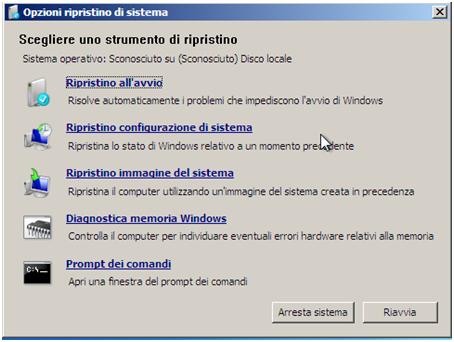 Windows 7 - Opzioni ripristino sistema