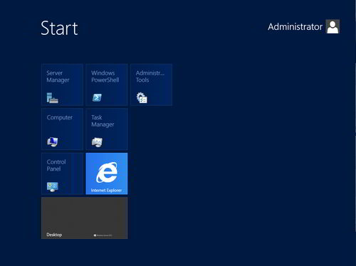 Figura 11: Lo Start Screen di Windows Server 2012