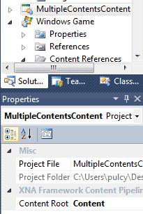 La proprietà Content Root di un progetto content determina dove saranno salvati i suoi .xnb