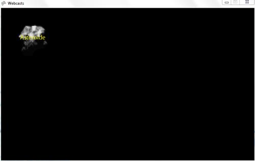 La scritta appare davanti l'asteroide